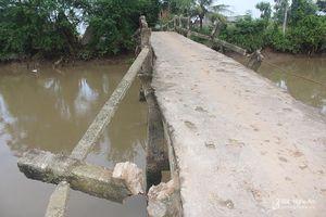 Cận cảnh cây cầu dân sinh xuống cấp nghiêm trọng ở Quỳnh Lưu (Nghệ An)