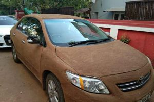 Ấn Độ: Nắng nóng 45 độ C, đắp đầy phân bò lên xe ô tô để... hạ nhiệt