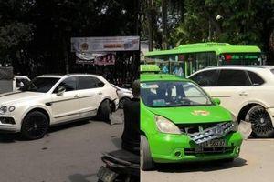 Hà Nội: SUV siêu sang Bentley Bentayga bị taxi đâm gãy bánh sau