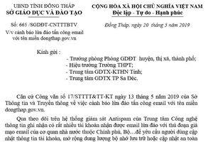 Cảnh báo nhà trường về hành vi lừa đảo tấn công email tên miền dongthap.gov.vn.