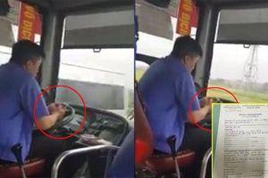 CSGT phạt 700 nghìn đồng tài xế xe buýt vừa lái xe vừa cắm mặt vào điện thoại nhắn tin, đọc báo