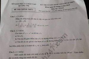 Đáp án đề thi vào lớp 10 môn Toán tại Quảng Trị năm 2019