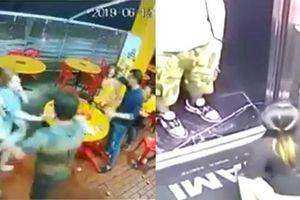 Clip 4 cô gái lao vào quán đánh ghen kiểu giang hồ, thiếu nữ tiểu tiện ở thang máy