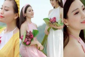 Mặc áo yếm chụp ảnh bên sen: 'Sao Mai' Huyền Trang, em gái Á khôi đẹp hút mắt