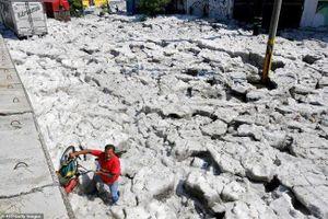 Mexico: Mưa đá lớn, băng ngập trắng đường