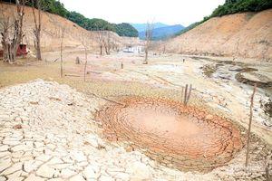 Trời đã mưa nhưng hồ Thủy điện Bản Vẽ nhiều nơi vẫn trơ đáy