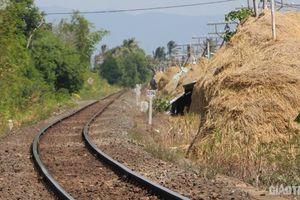 Xuất hiện dãy cột rơm khô trong hành lang bảo vệ đường sắt ở Phú Yên