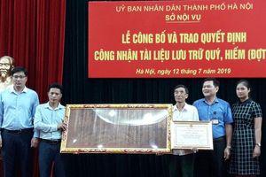 554 Đạo sắc phong được công nhận là tài liệu lưu trữ quý, hiếm