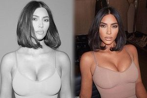 Kim Kardashian mặt V-line, đường cong 'đồng hồ cát' nóng bỏng