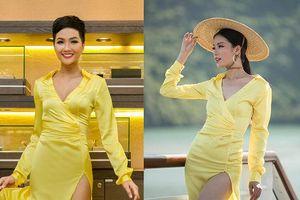 Đang thi nhan sắc, cô gái liều lĩnh đụng hàng chiếc váy vàng 'thần thánh' của H'hen Niê