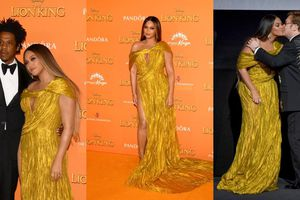 Beyonce rạng rỡ trong đầm 'hàng thửa' của NTK Nguyễn Công Trí tại buổi công chiếu 'Lion King' ở London