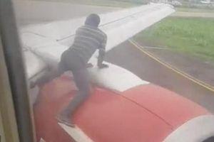 Thót tim cảnh người đàn ông trèo lên cánh máy bay để đi chui