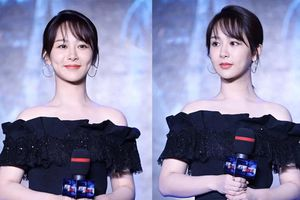 Dương Tử xuất hiện xinh đẹp, nổi bật với làn da trắng sáng tại buổi họp báo phim