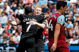 Sterling lập hat trick, Man. City thắng tưng bừng West Ham
