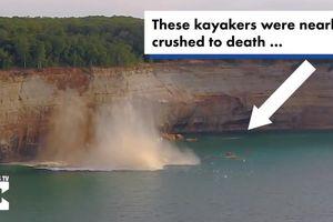 Thót tim vách đá sụp xuống khi đoàn người chèo thuyền kayak đến gần