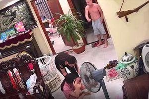 Phẫn nộ clip chồng đánh vợ mới sinh con phải nhập viện