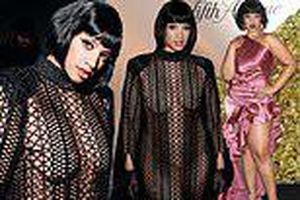 Nữ diễn viên mặc như không với váy lưới xuyên thấu gây choáng