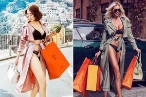 Style mặc nội y xuống phố shopping của Ngọc Trinh bị fan 'bóc' giống y chang người mẫu nước Nga