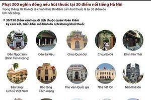 Phạt 300.000 đồng nếu hút thuốc tại 30 điểm nổi tiếng ở Hà Nội