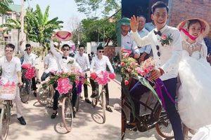 Đám cưới đẹp nhất thôn quê: Hàng chục trai làng 'hot boy' đạp xe đến đón dâu làm ai cũng thích thú