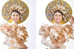 Tường Vy diện áo dài lạ mắt đi thi Hoa hậu Du lịch Thế giới