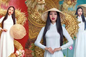 Thu Hiền diện áo dài trắng, mang rồng vàng quyền lực thi National Costume - Miss Asia Pacific Int' 2019