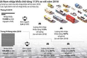 Việt Nam nhập khẩu ôtô tăng 113% so với năm 2018