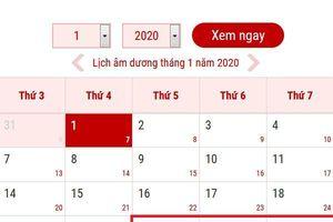 Lịch nghỉ chính thức Tết nguyên đán Canh Tý năm 2020