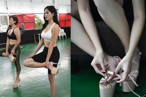 Hoàng Hạnh tập catwalk phồng rộp chân trên giày 25 cm tại lò đào tạo 'nữ hoàng' của Philippines