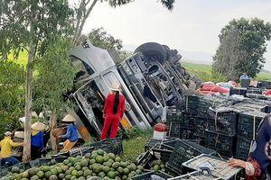 Người dân Quảng Ngãi giúp tài xế thu gom trái cây đổ ra đường