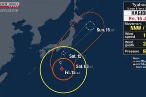 Bão Hagibis đến gần đảo chính Honshu của Nhật Bản