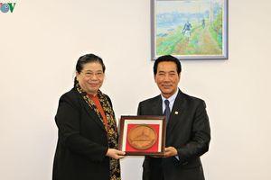 Phó Chủ tịch Quốc hội Tòng Thị Phóng gặp Phó Chủ tịch Quốc hội Lào