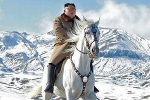 Hình ảnh Chủ tịch Triều Tiên phi ngựa trắng trên tuyết núi thiêng Paekdu