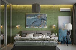 Trang trí phòng khách màu xanh căng tràn sức sống