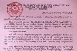 Thư chúc mừng của Bộ trưởng Bộ Công Thương Trần Tuấn Anh nhân Ngày Phụ nữ Việt Nam (20/10/1930-20/10/2019)