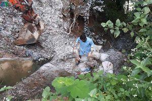Phát hiện nhiều bao tải chứa đầy xác lợn vứt bỏ gần sông Lam