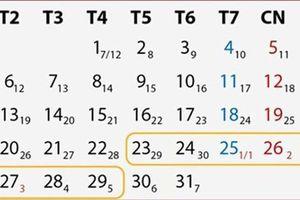 Chính thức ban hành lịch nghỉ tết âm lịch 2020