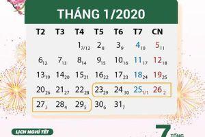 Tết Nguyên đán Canh Tý 2020 chính thức được nghỉ 7 ngày