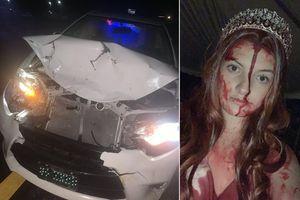 Hóa trang Halloween, trùng hợp cô gái gặp tai nạn xe, cảnh sát phát khiếp...