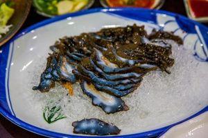 Rợn người với cách ăn món đỉa biển sống của người Hàn Quốc