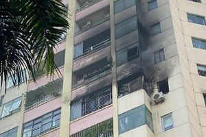 Hà Nội: Cháy lớn ở Làng QT Thăng Long, trạm cấp nước chữa cháy không có nước