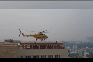 Trực thăng thử hạ cánh trên nóc bệnh viện 175