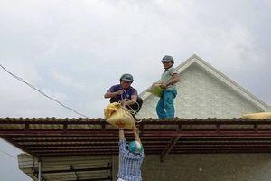 Quảng Ngãi: Người dân vùng ven biển khẩn trương chèn chống nhà cửa
