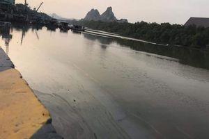 Bục đường ống công ty xi măng, 7.000 lít dầu tràn phủ đen mặt sông