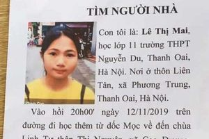 Nữ sinh lớp 11 mất tích trên đường đi học thêm về ở Hà Nội