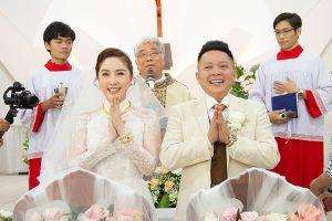 Bảo Thy và chồng đại gia cười tươi trong hôn lễ ở nhà thờ