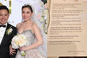 Thực đơn trong tiệc cưới Giang Hồng Ngọc