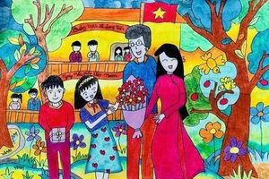 Tranh vẽ ngày 20/11 ấn tượng mà học sinh dành tặng thầy cô giáo
