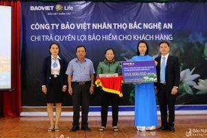 Bảo Việt Nhân thọ Bắc Nghệ An chi trả 850 triệu đồng cho khách hàng gặp rủi ro
