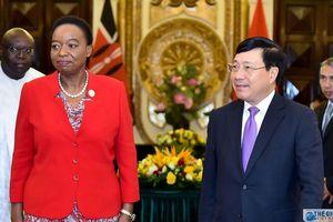 Phó Thủ tướng Phạm Bình Minh đón, hội đàm Bộ trưởng Ngoại giao Kenya Monica Juma
